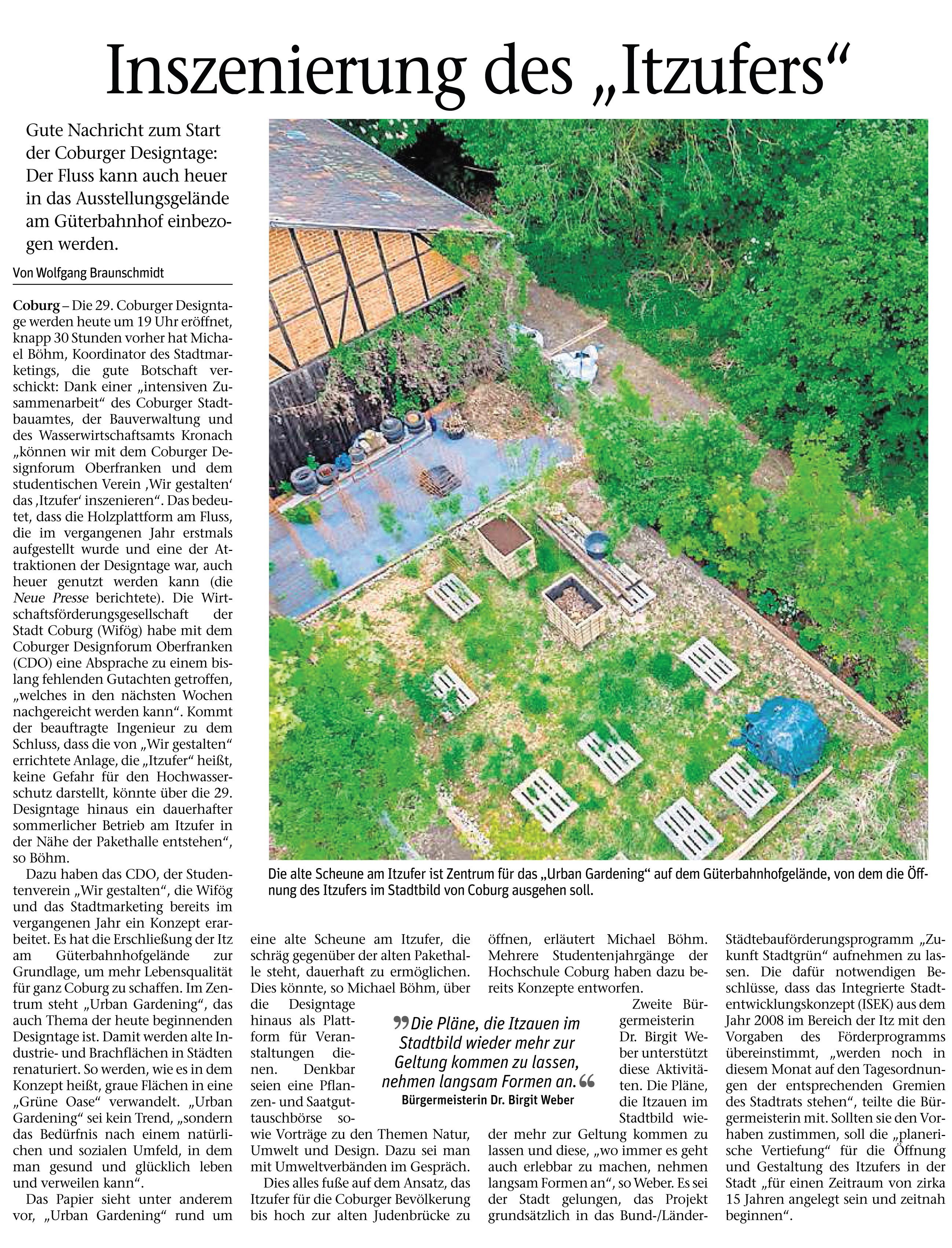 Neue Presse 23.05.2017 Inszenierung des Itzufers